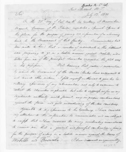 R. Sparks to William Eustis, July 12, 1810.