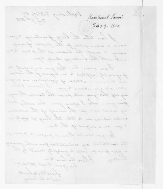 Sam Kercheval to James Madison, February 7, 1810.