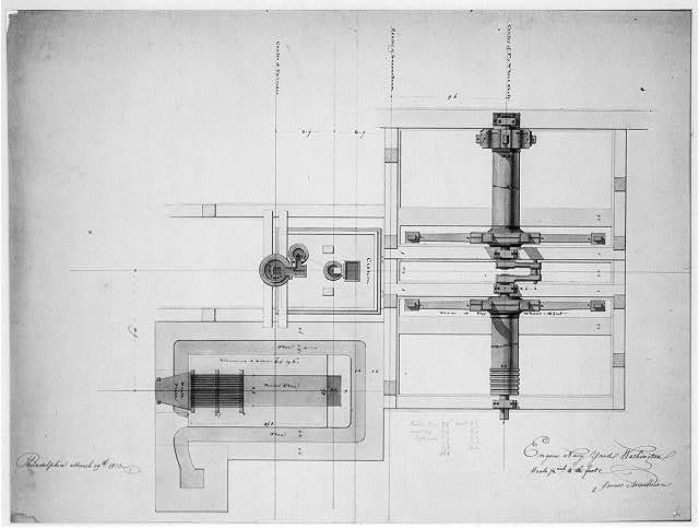 [Steam engine, Washington Navy Yard, Washington, D.C. Plan with boiler, cistern, and fly wheel]
