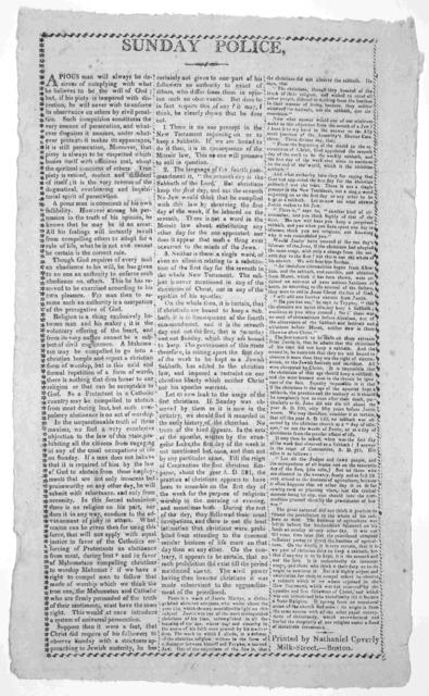 Sunday police. [Boston] Printed by Nathaniel Coverly, Milk-Street [181-?].