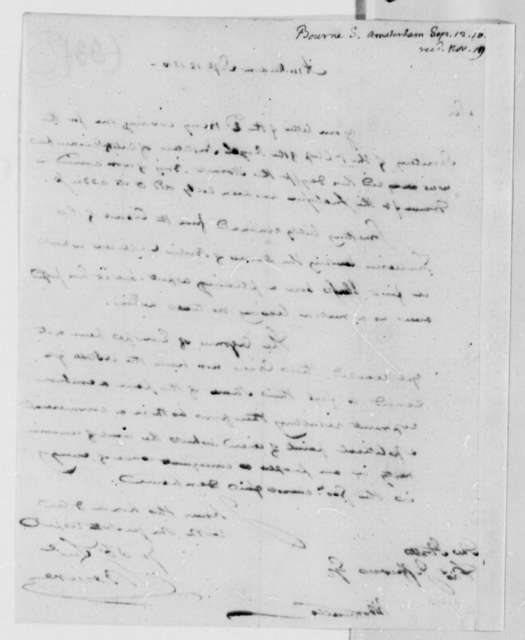Sylvanus Bourne to Thomas Jefferson, September 12, 1810