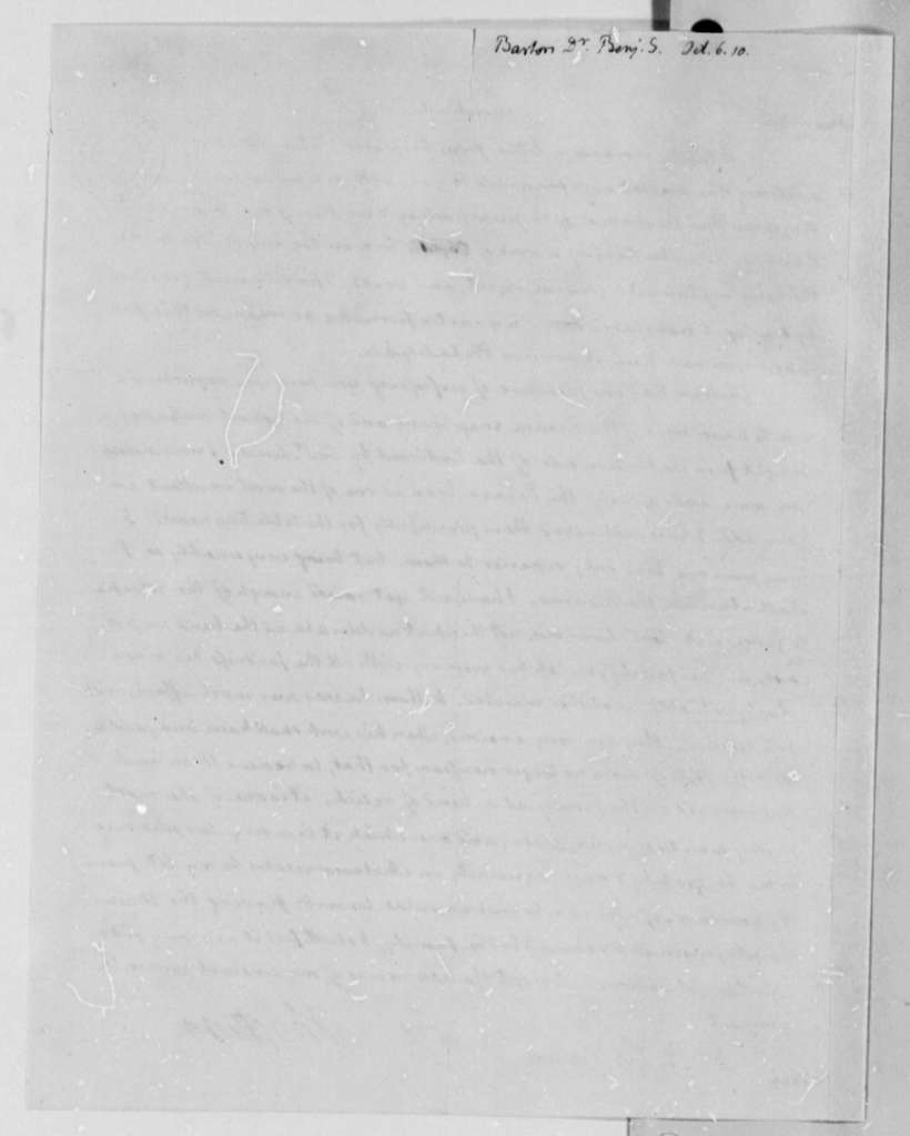 Thomas Jefferson to Benjamin Smith Barton, October 6, 1810