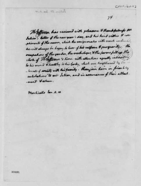 Thomas Jefferson to Honore Julien, January 8, 1810