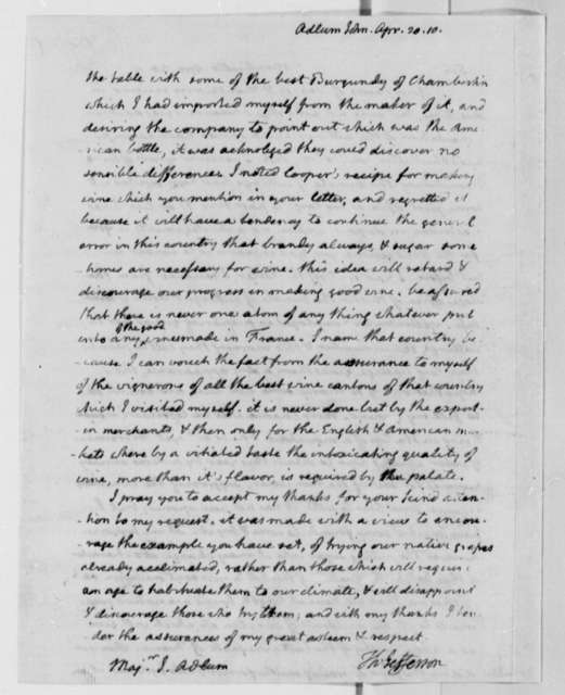 Thomas Jefferson to John Adlum, April 20, 1810