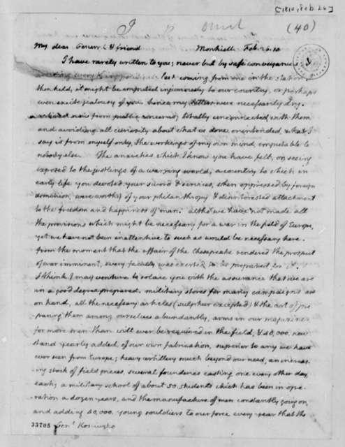 Thomas Jefferson to Thaddeus Kosciuszko, February 26, 1810
