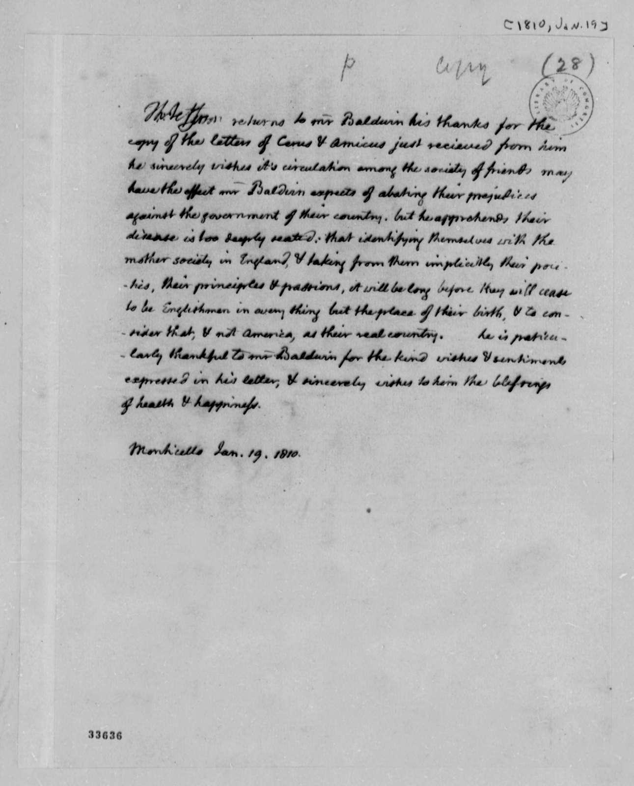 Thomas Jefferson to William Baldwin, January 19, 1810