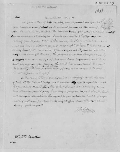 Thomas Jefferson to William Caruthers, October 9, 1810
