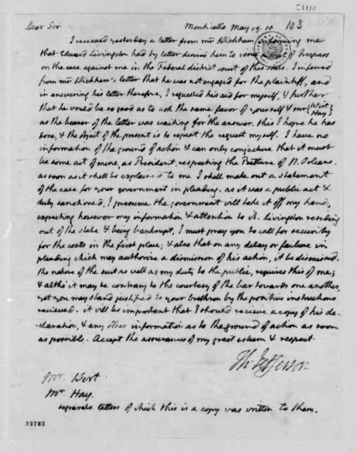 Thomas Jefferson to William Wirt and George Hay, May 19, 1810