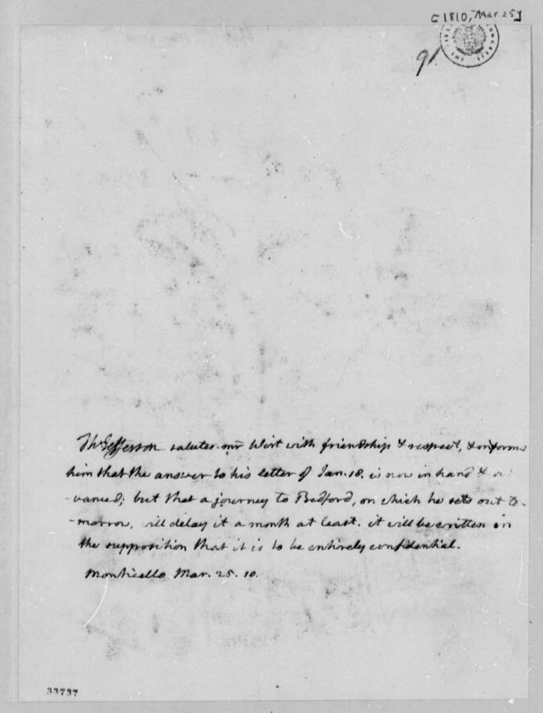 Thomas Jefferson to William Wirt, March 25, 1810