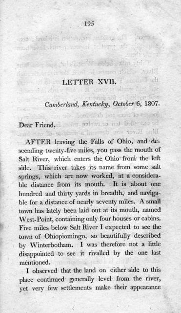 Travels on an inland voyage :  through the states of New York, Pennsylvania, Virginia, Ohio, Kentucky and Tennessee, and through the territories of Indiana, Louisiana, Mississippi, and New-Orleans : performed in the years 1807 and 1808 : including a tour of nearly six thousand miles, volume 1