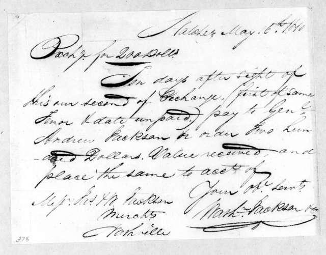 Washington & Jackson & Co. to Andrew Jackson, May 16, 1810
