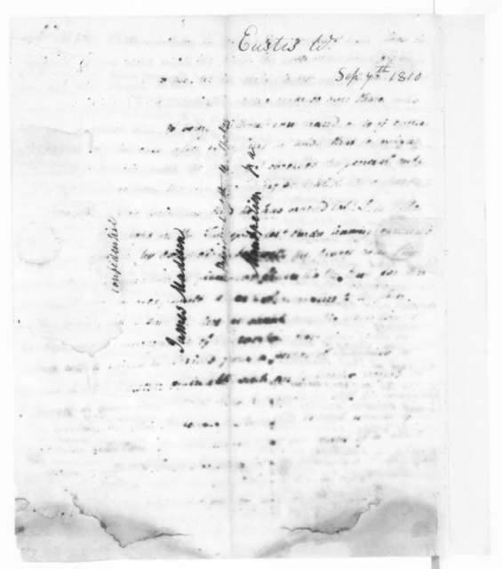 William Eustis to James Madison, September 7, 1810. Partially illegible.