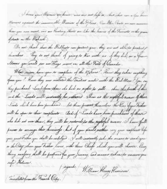 William Henry Harrison to The Prophet (Native American), August 20, 1810.