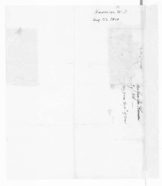 William Henry Harrison to William Eustis, August 22, 1810.