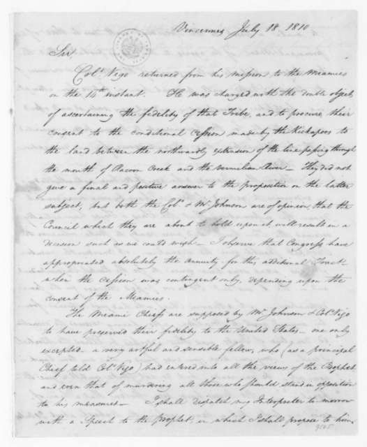 William Henry Harrison to William Eustis, July 18, 1810.