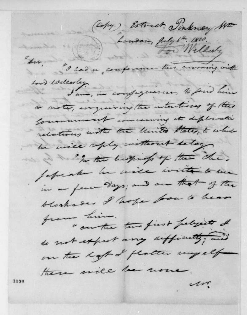 William Pinkney to James Madison, July 6, 1810. Extract.