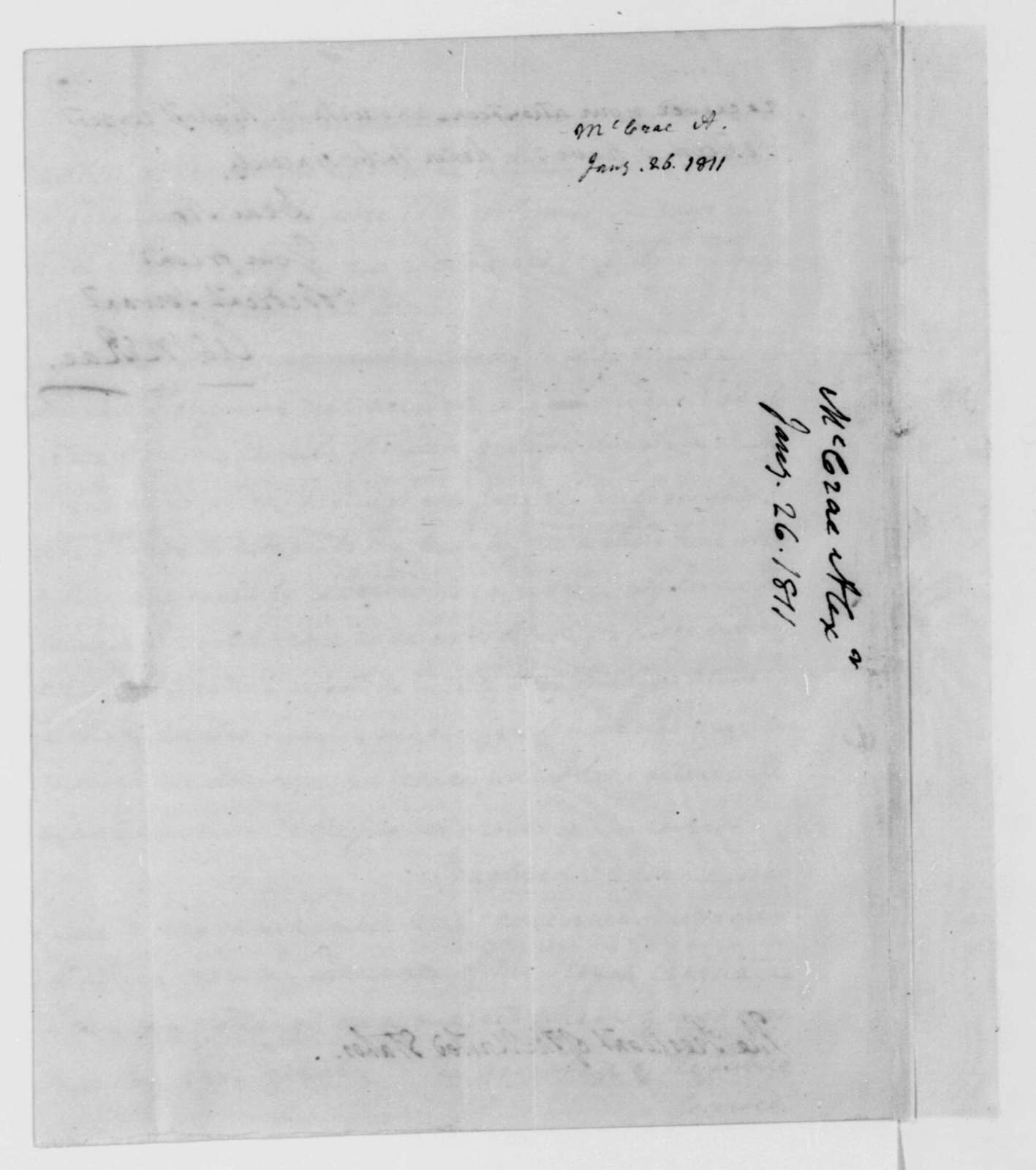 A. McRae to James Madison, January 26, 1811.
