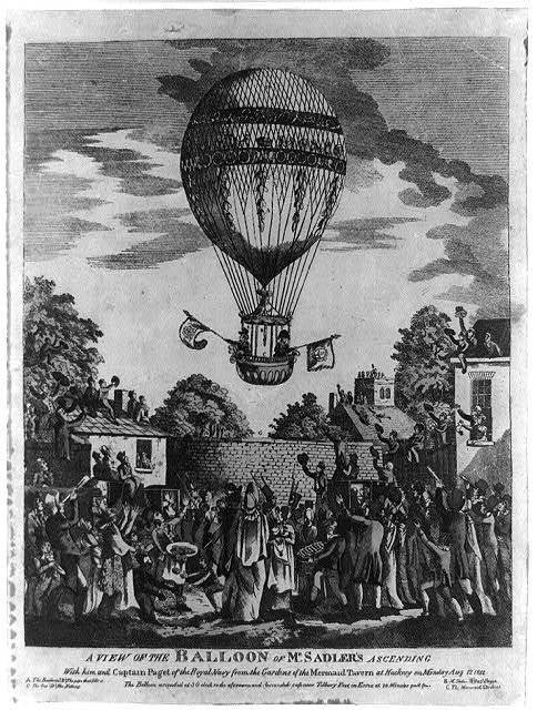 A view of the balloon of Mr. Sadler's ascending with him and Captain Paget of the Royal Navy from the gardens of the Mermaid Tavern at Hackney on Monday, August 12, 1811