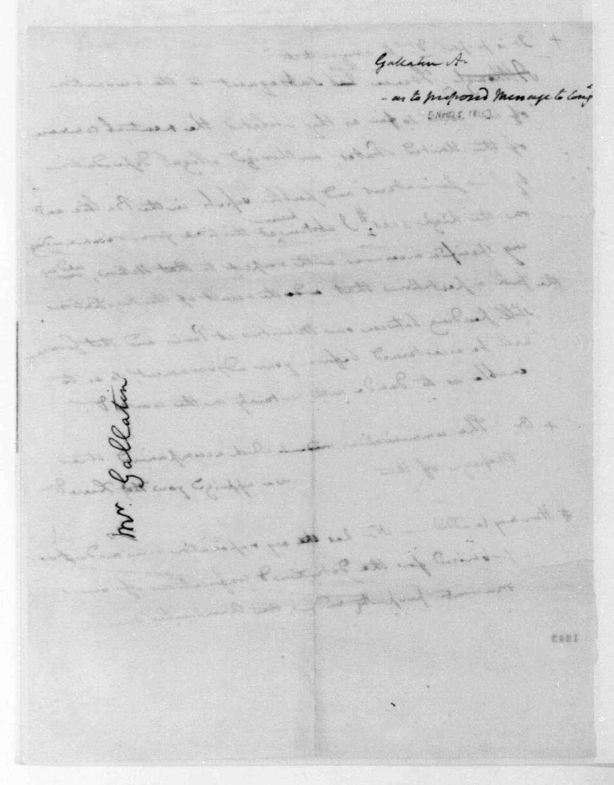 Albert Gallatin, November 5, 1811. Notes, Presidential Message.