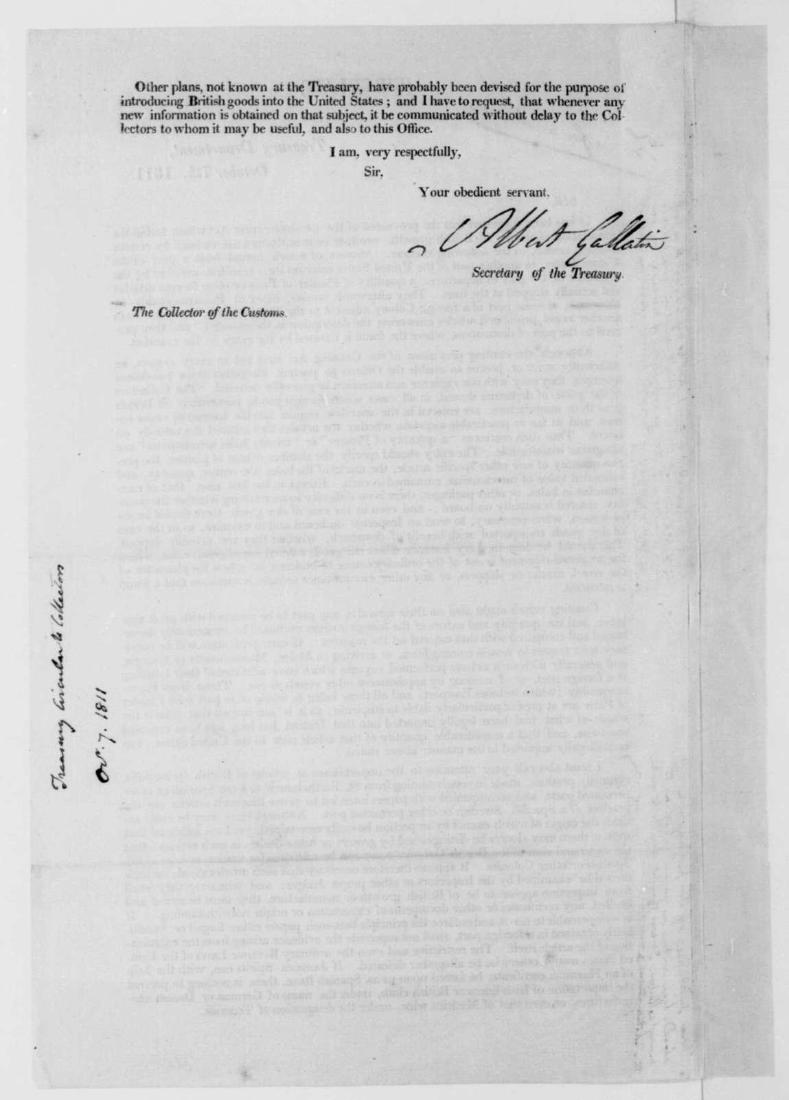 Albert Gallatin to Collector of the Customs, October 7, 1811. Printed circular and notes.