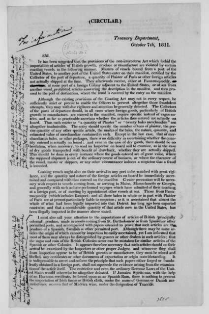 Albert Gallatin to Collector of the Customs, October 7, 1811. Printed circular and notes.