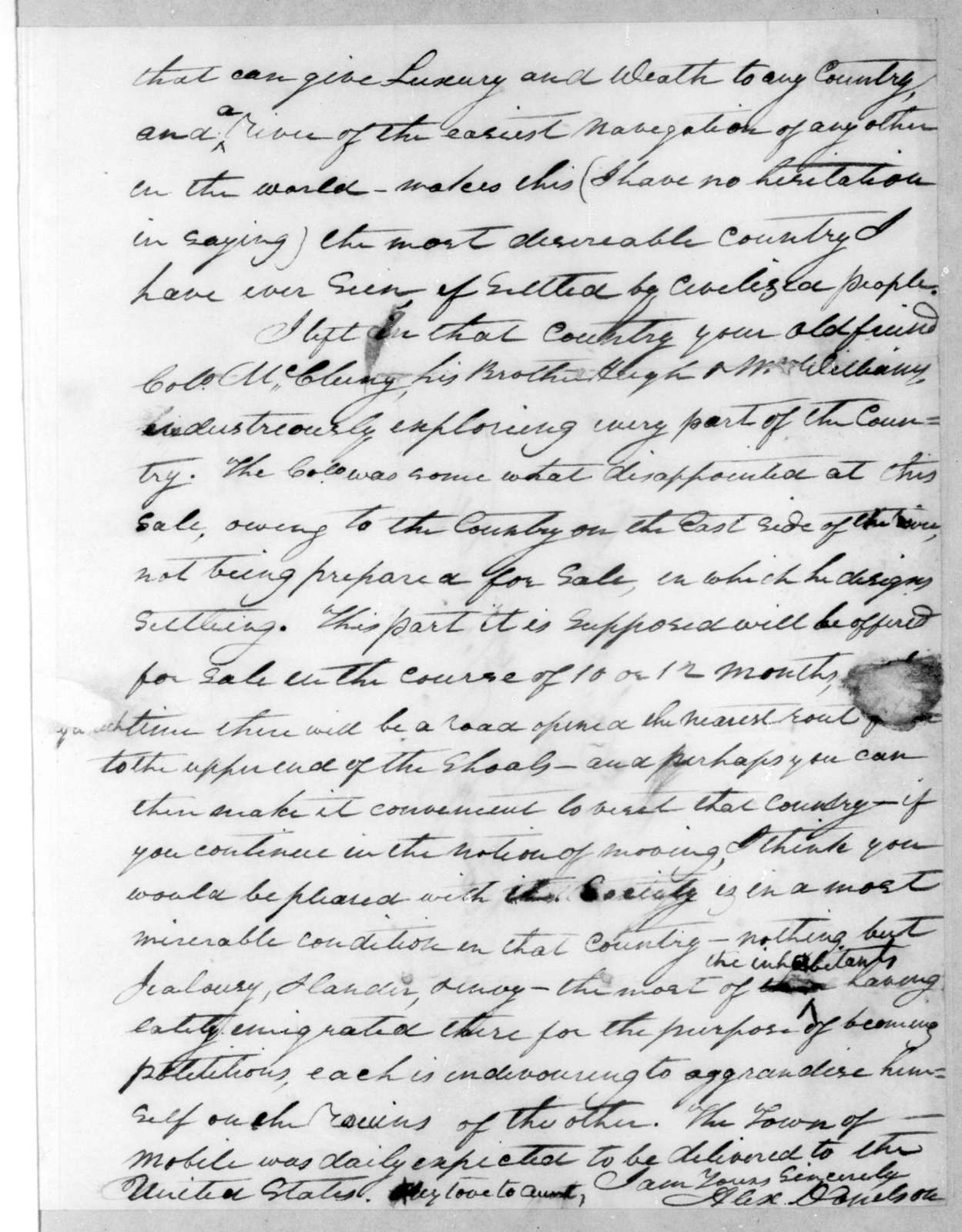 Alexander Donelson to Andrew Jackson, October 9, 1811