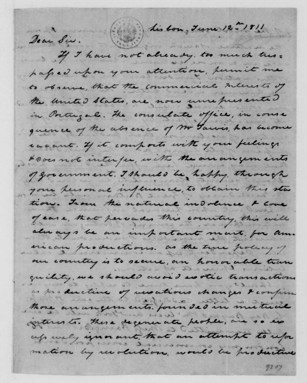 Alexander Hamilton to James Madison, June 12, 1811.
