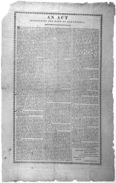 An act concerning the bank of Alexandria ... February 15, 1811.