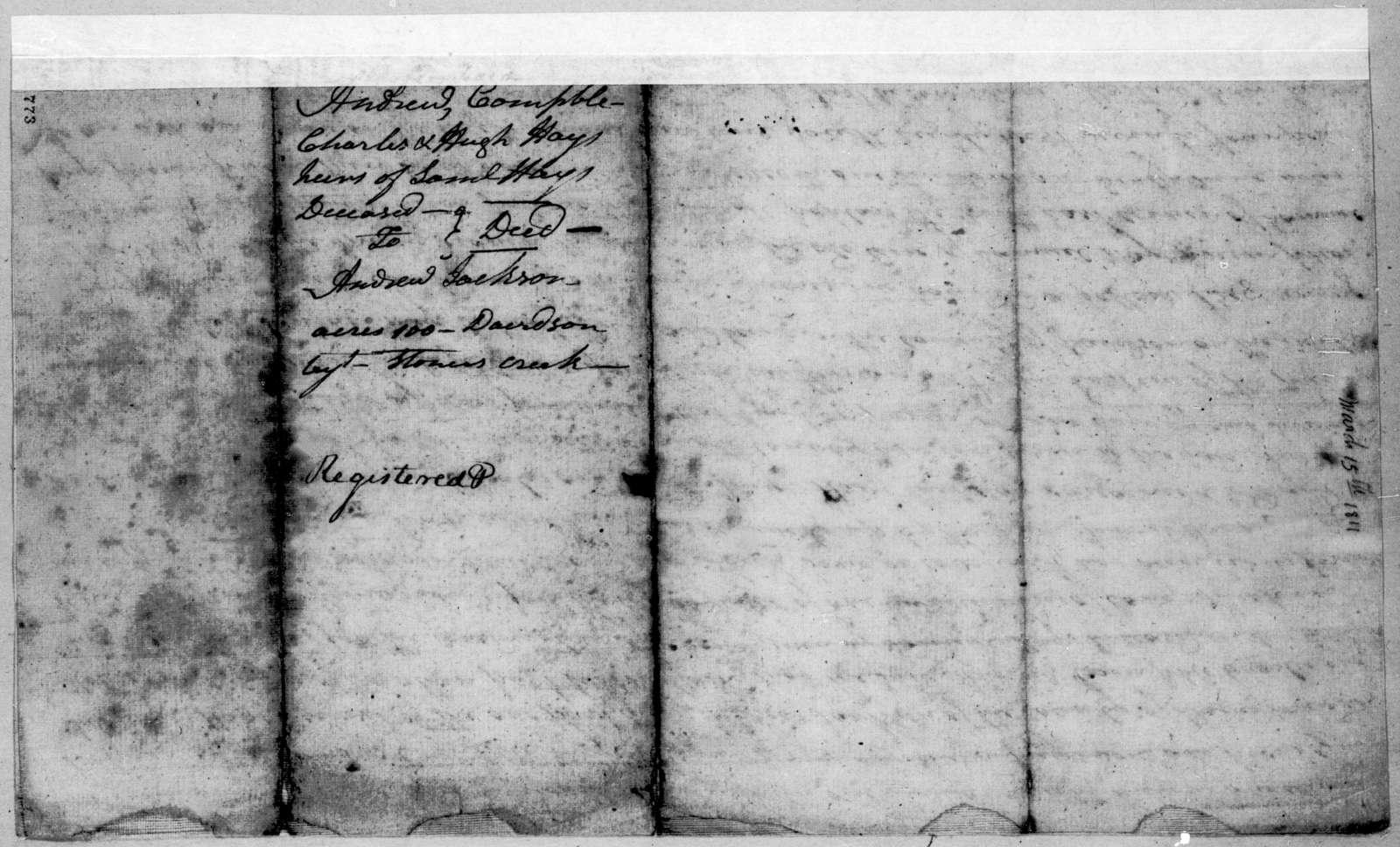 Andrew Hays et al.. to Andrew Jackson, March 15, 1811