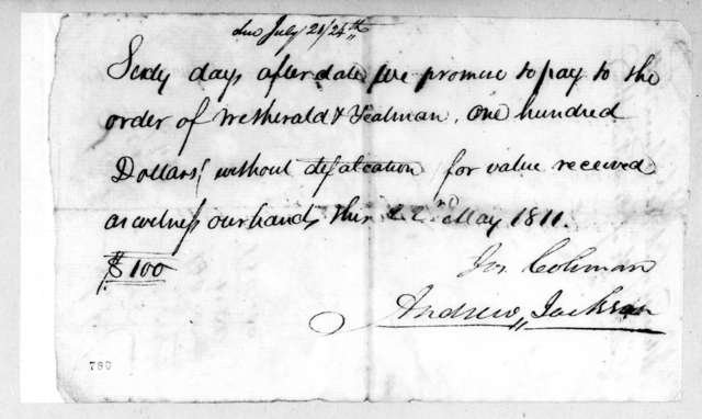 Andrew Jackson and Joseph Coleman to Wetherald & Yeatman, May 22, 1811