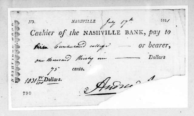 Andrew Jackson to Cumberland College, July 17, 1811