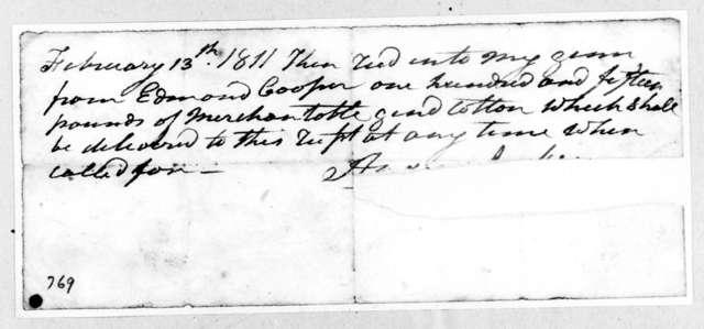 Andrew Jackson to Edmond Cooper, February 13, 1811