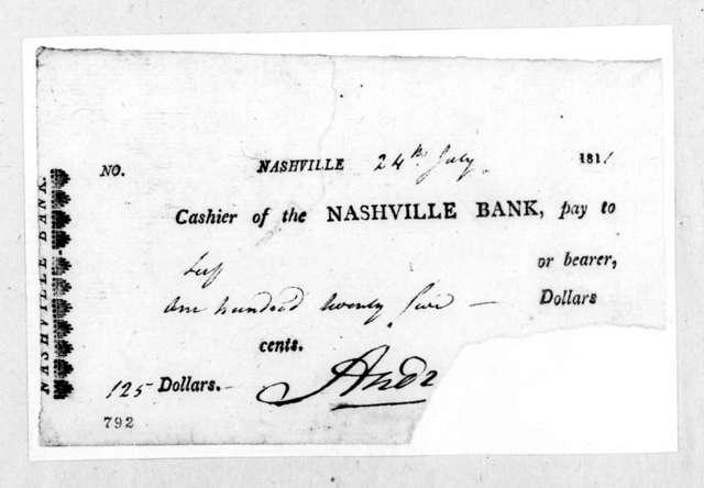 Andrew Jackson to Nashville Bank, July 24, 1811