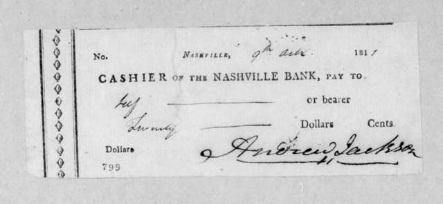 Andrew Jackson to The Nashville Bank, October 9, 1811