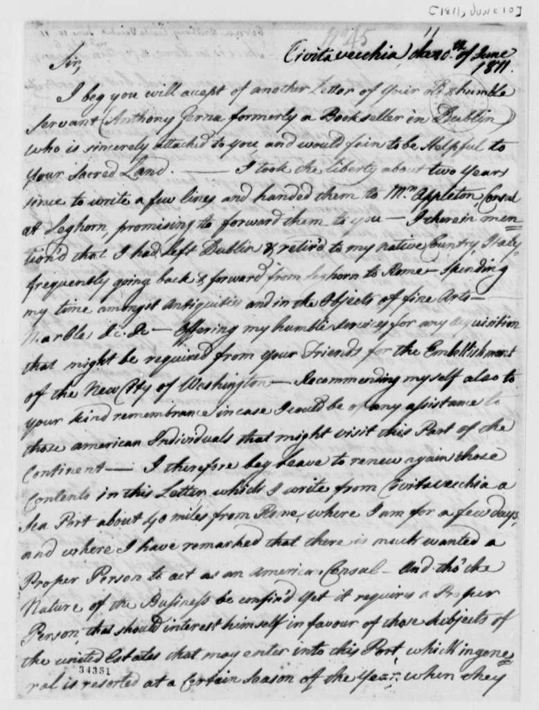 Anthony Gerna to Thomas Jefferson, June 10, 1811