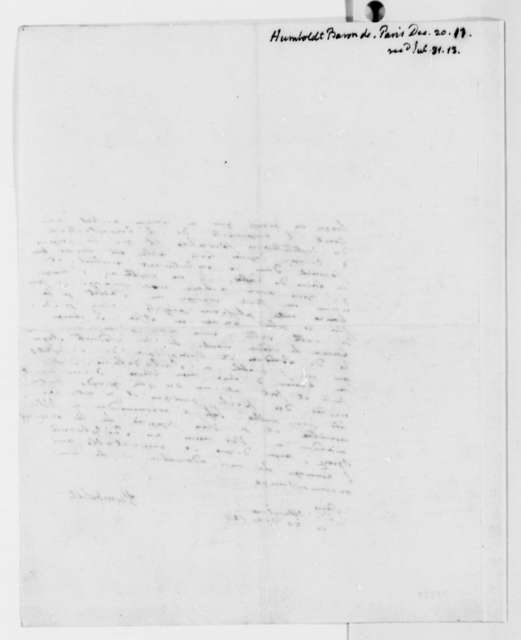 Baron von Humboldt to Thomas Jefferson, December 20, 1811, in French