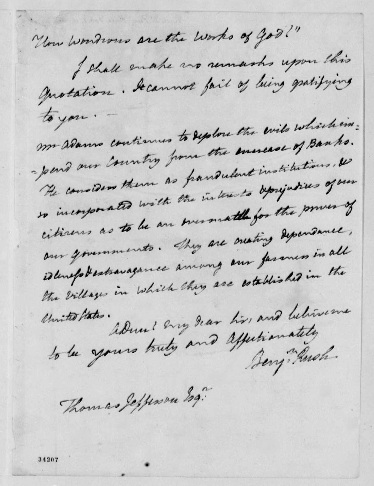 Benjamin Rush to Thomas Jefferson, February 1, 1811