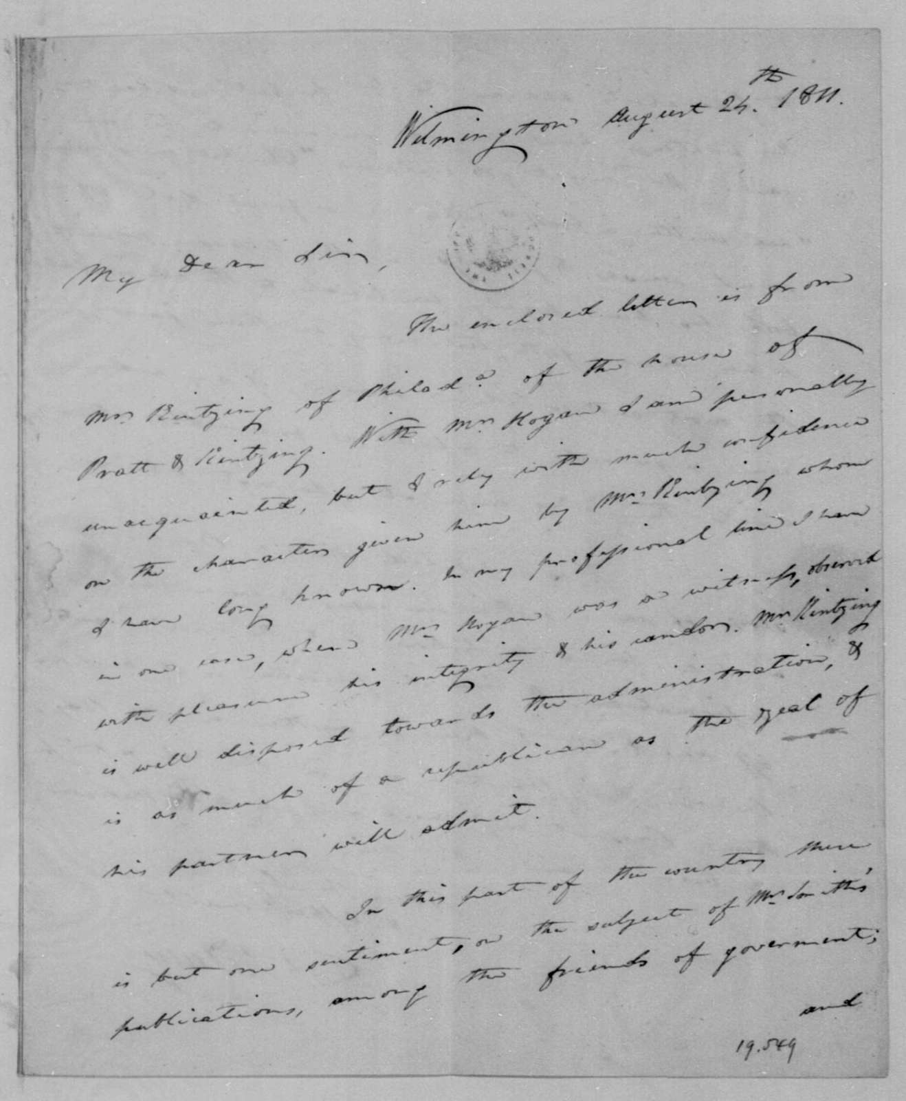 Caesar A. Rodney to James Madison, August 24, 1811.