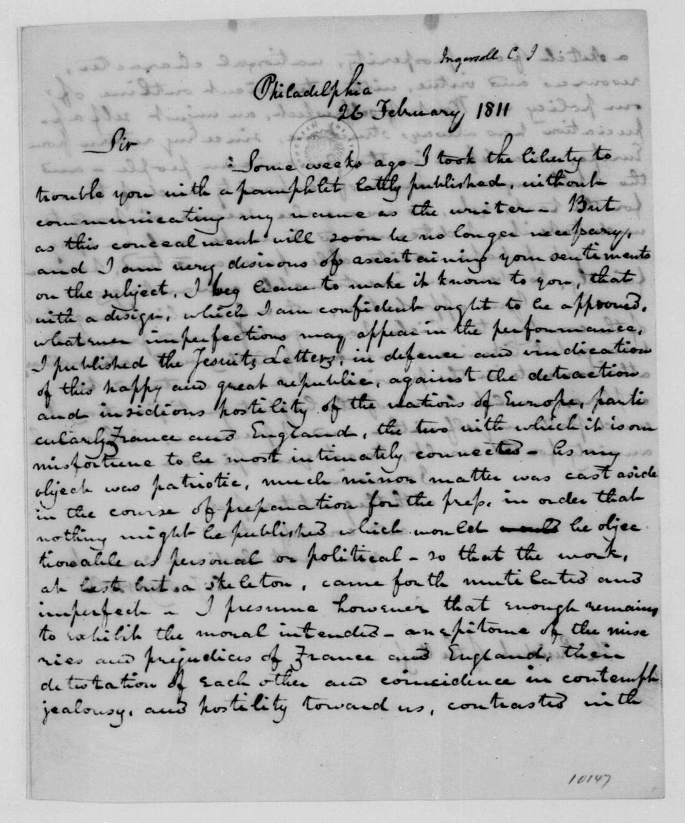 Charles J. Ingersoll to James Madison, February 26, 1811.