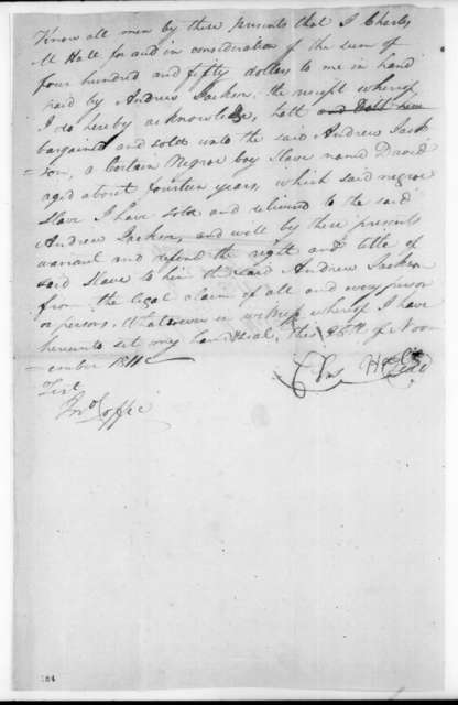 Charles M. Hall to Andrew Jackson, November 26, 1811