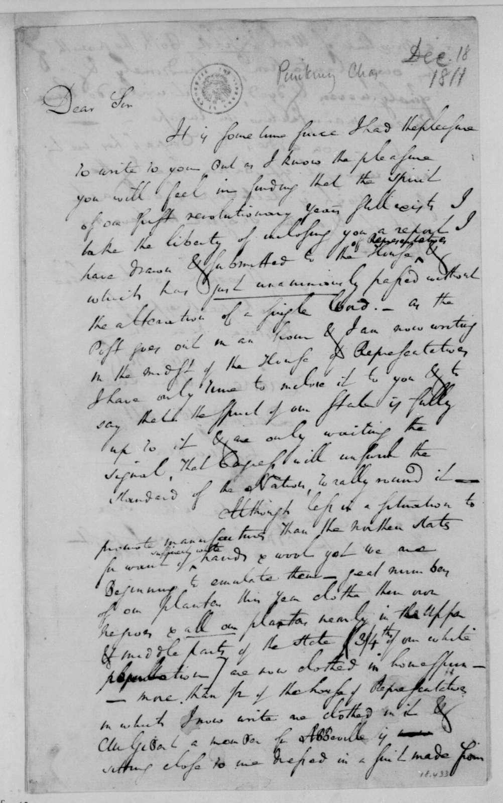 Charles Pinckney to James Madison, December 18, 1811.