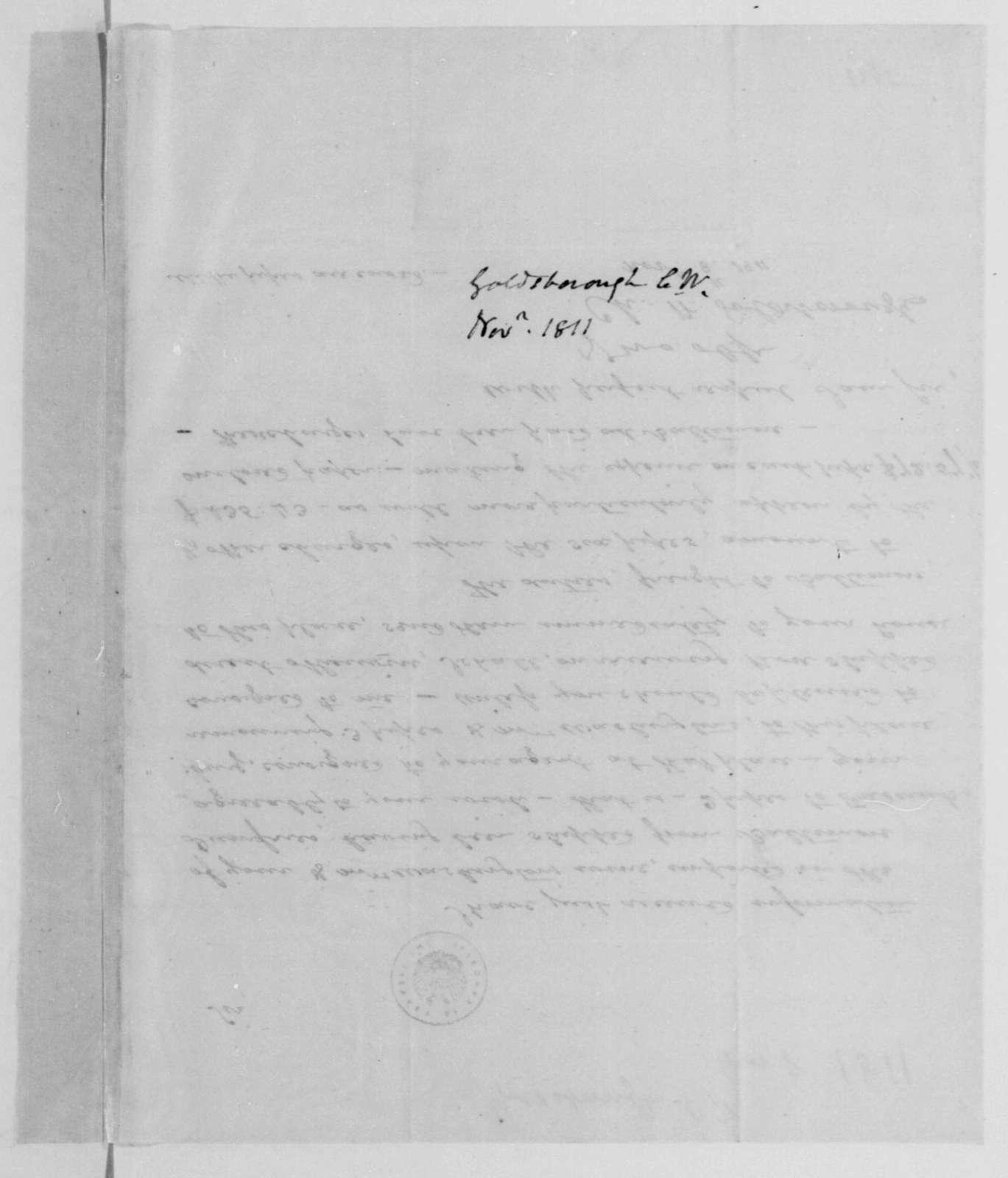 Charles W. Goldsborough to James Madison, November 8, 1811.