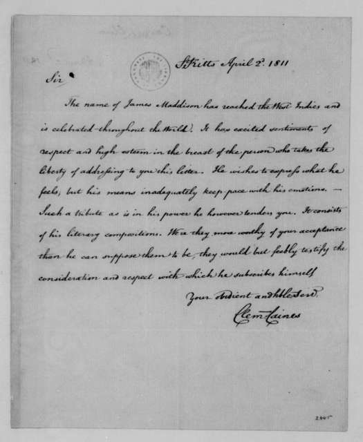 Clem Caines to James Madison, April 2, 1811.