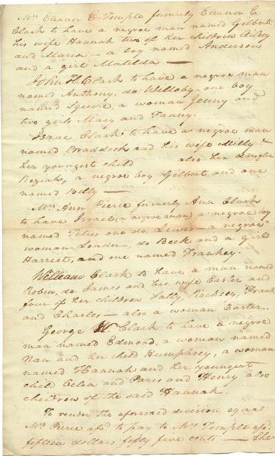 Commissioner's report for the allotment of Sarah Hite Clark's dower