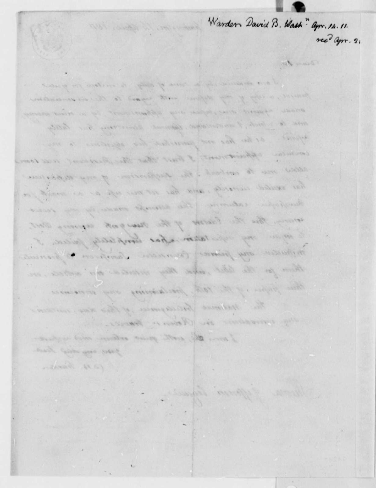 David B. Warden to Thomas Jefferson, April 14, 1811, with Letter to James Madison Dated February 20, 1811