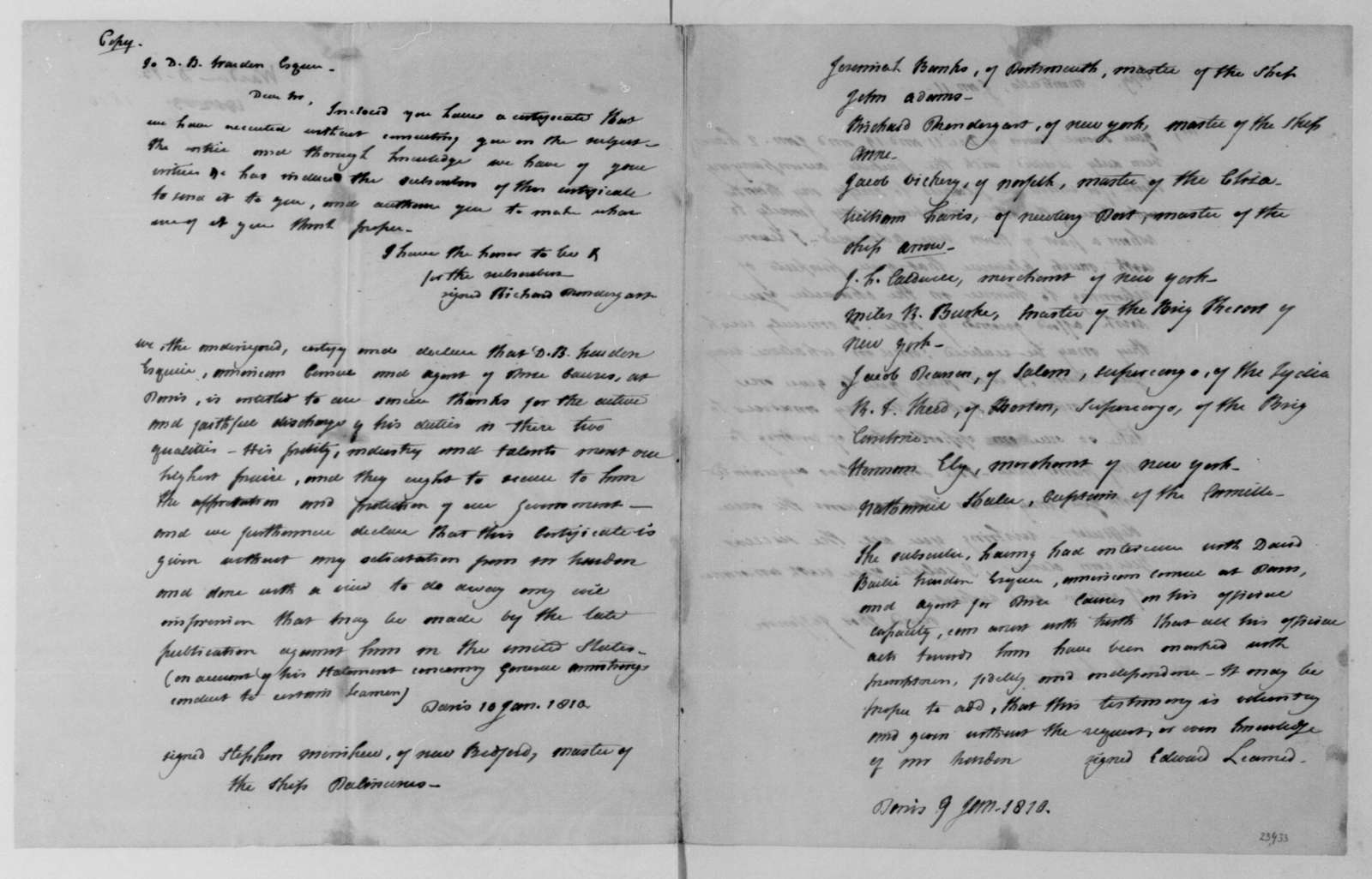 David Bailie Warden to James Madison, April 23, 1811. With nine documents in evidence.