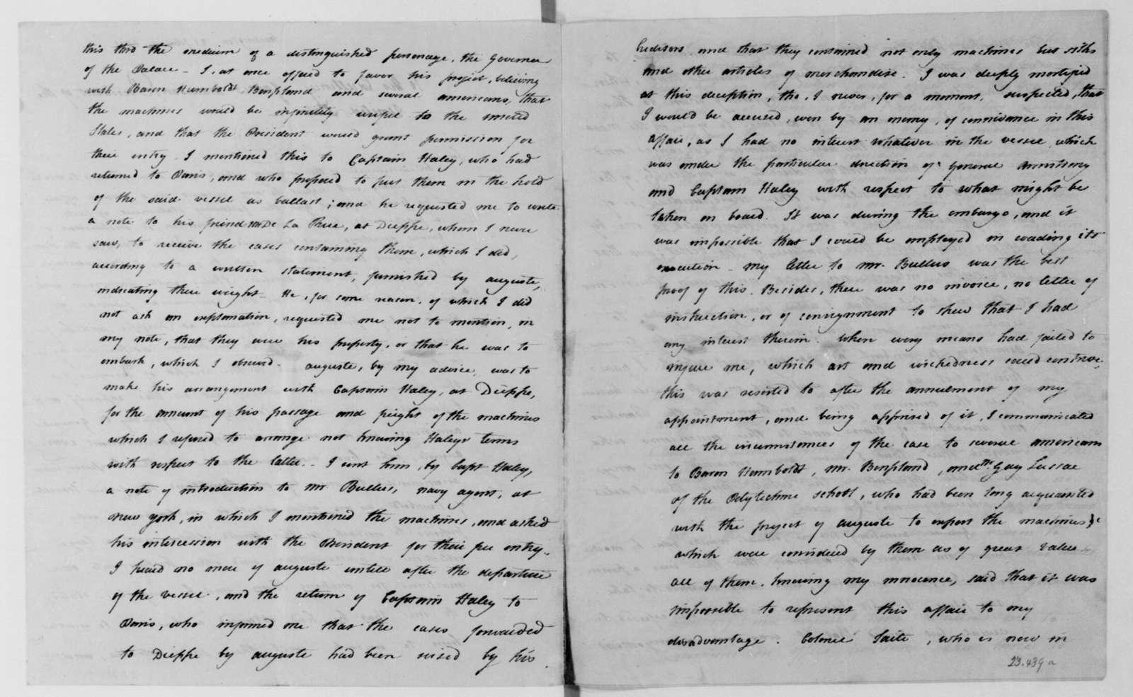 David Bailie Warden to James Madison, February 21, 1811.