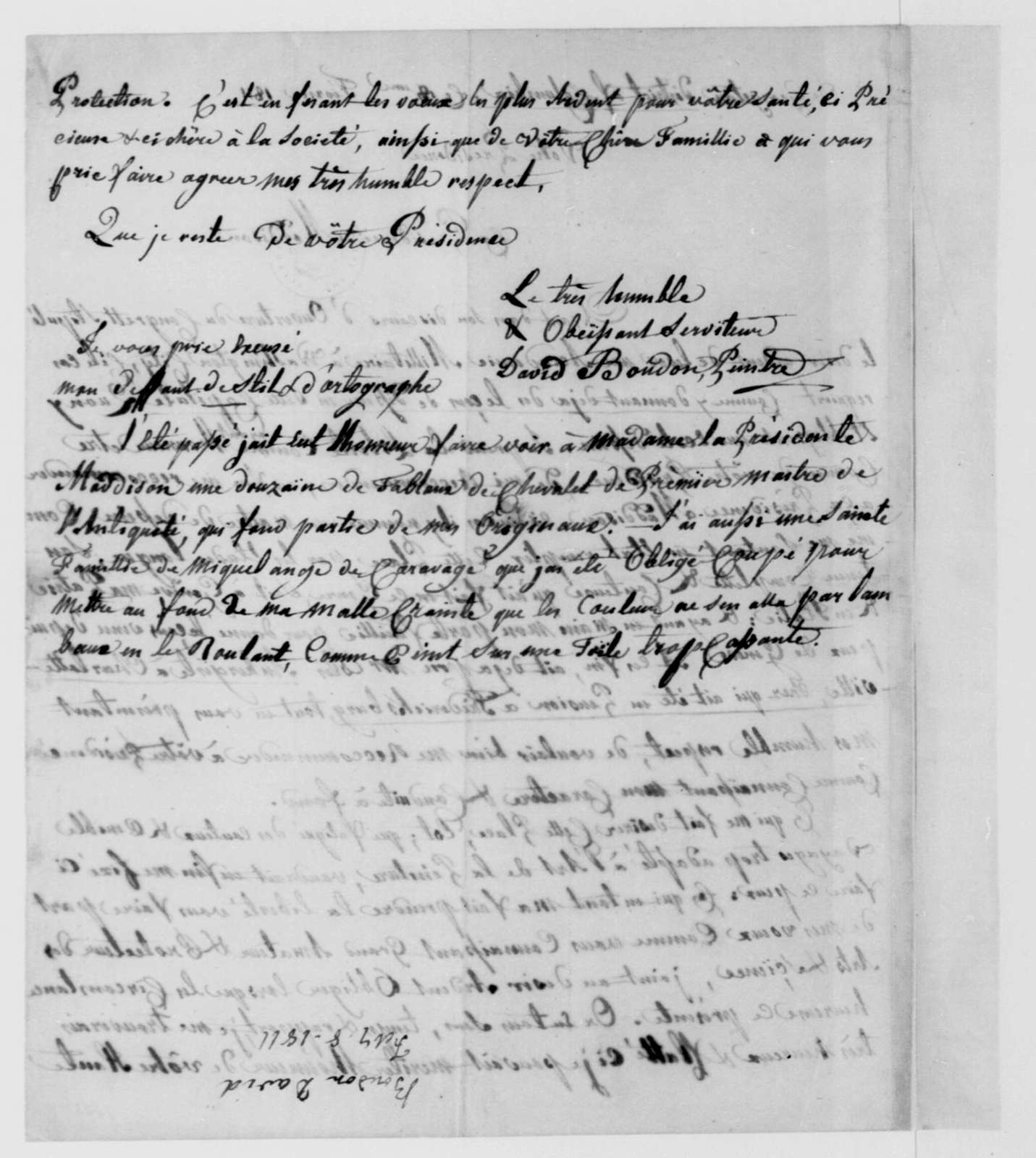 David Boudon to James Madison, February 18, 1811. In French.