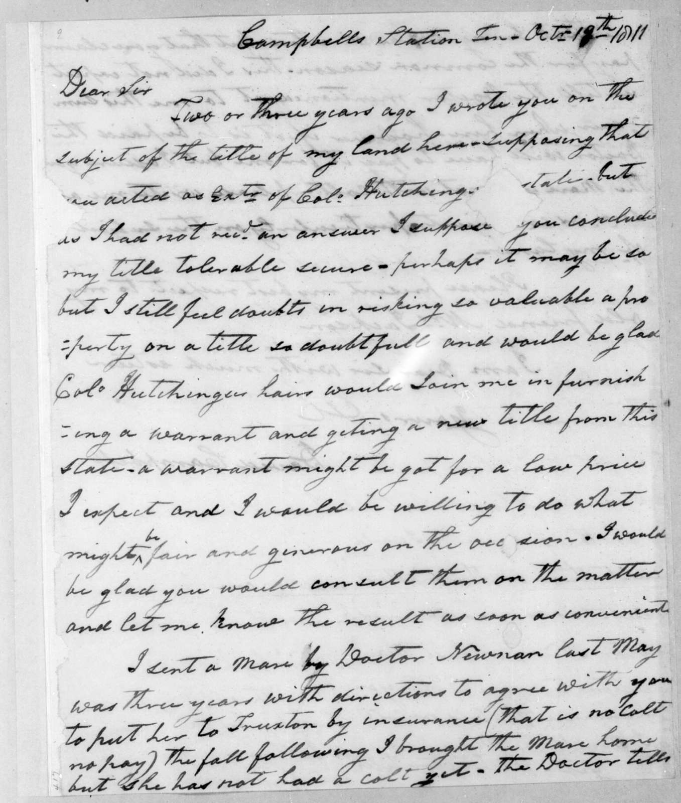 David Campbell to Andrew Jackson, October 19, 1811
