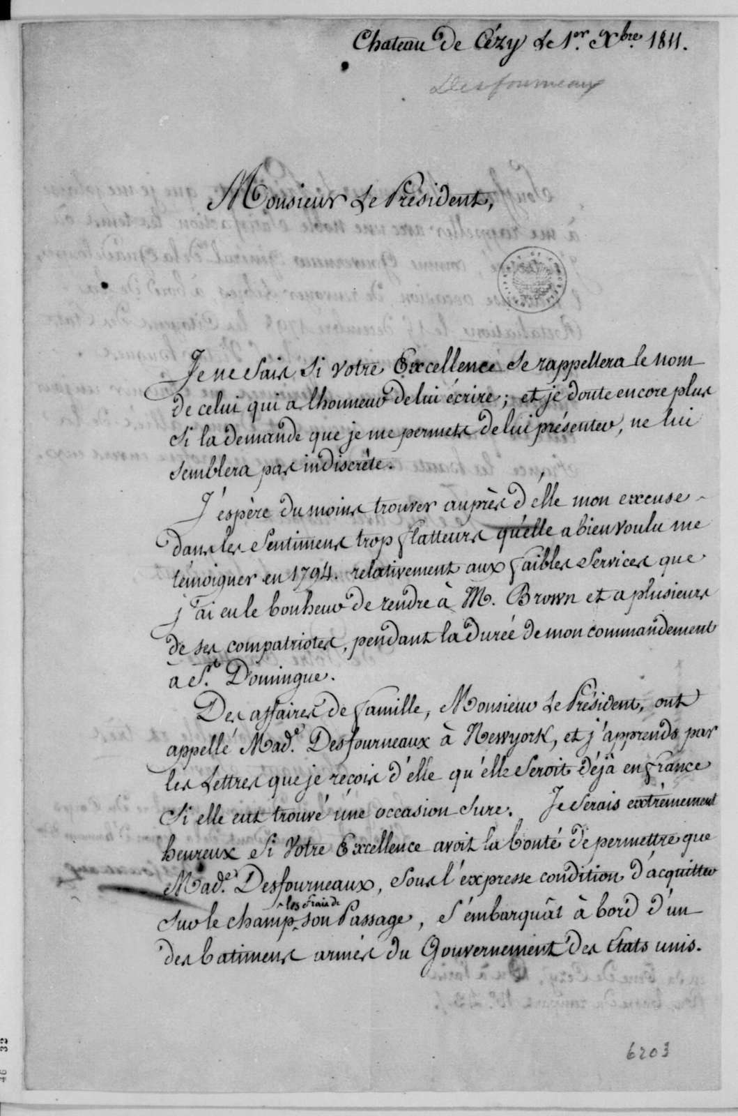 Desfourneaux to James Madison, December 1, 1811. In French.